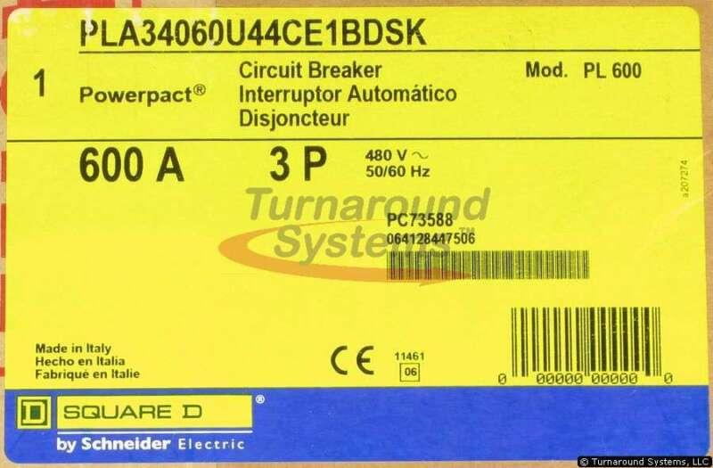 Square D Pla34060u44ce1bdsk Circuit Breaker, 600 Amp, 65 Kair, Shunt Trip, New!