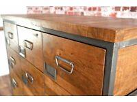 Large Industrial Apothecary Chest of 18 Drawers / Shoe Storage Rustic Wood