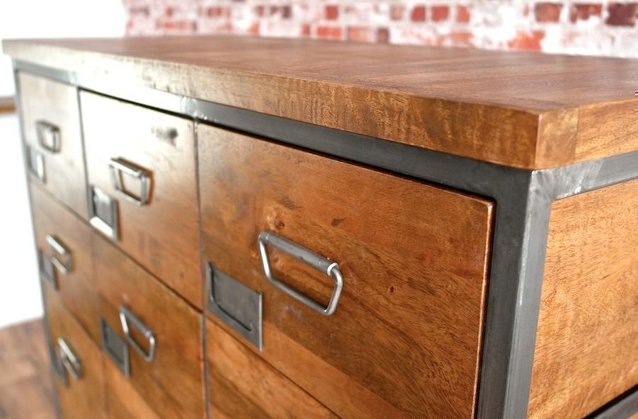 Brand New Large Industrial Steel Apothecary Chest of 18 Drawers / Shoe Storage Rustic Wood Finish