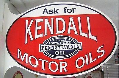 Kendall Motor Oils Sign Heavy Oval Flange Cabin Home Yard Garage Shop Farm Decor