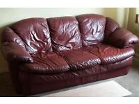 LEATHER SOFA AND 2 MATCHING ARMCHAIRS