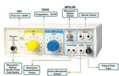 Electro Surgical Generator Electrocautery Electrosurgical Diathermy 300w Unit