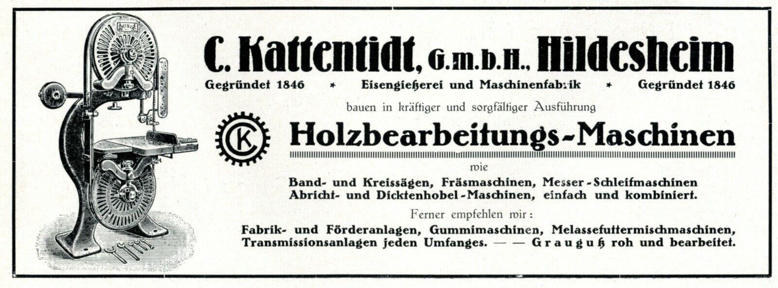 Holzbearbeitung Maschinen Kattentidt Hildesheim Reklame 1926 Werbung