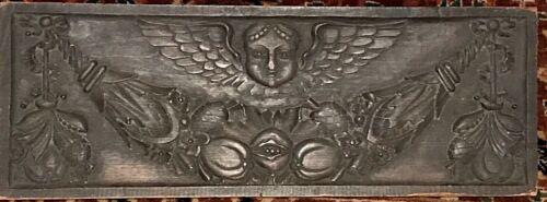17th / 18th C. ANTIQUE HAND-CARVED GOTHIC ANGEL & CORNUCOPIA ORNATE WOOD PLAQUE