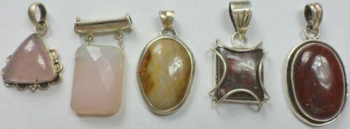 5 Vintage 925 Sterling Silver Agate Jasper Rose Quartz Stone Pendants 52 Grams