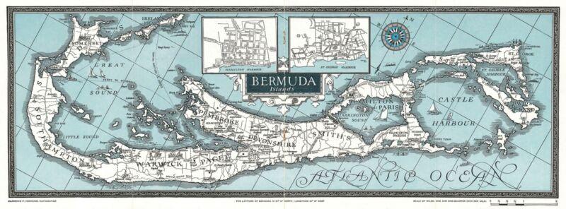 1927 Hornung Pictorial Map of the Bermuda Islands