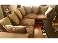 brushed leather corner sofa