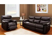 *NEW* Brown Leather Recliner Sofa Set - 3Str/1Str/1Str/1Str - *FREE* Rug/Pouffe