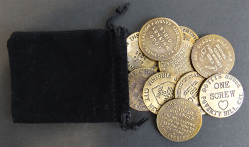 Set of 10 Brothel Tokens w/bag, brass, old west, western, bordello cat house #1B