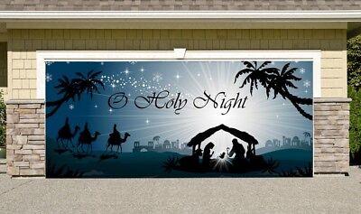 Nativity Scene Garage Door Banner, Christmas Mural for Double Garage Door 7'x16' (Garage Door Scenes)