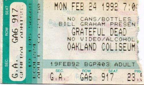 GRATEFUL DEAD TICKET STUB  02-24-1992  OAKLAND COLISEUM