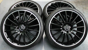 19-inch-Aftermarket-Mercedes-Benz-AMG-C63-Black-Style-Wheels-New-Conti-Tyres