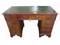 Antique Reproduction Twin Pedestal New Leather Top Office Desk