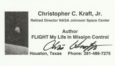 CHRISTOPHER KRAFT 1ST NASA FLIGHT DIRECTOR SIGNED BUSINESS CARD APOLLO MERCURY