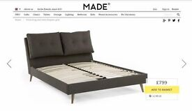 New Ex-Display FREYA King Size Bed in Graphic Grey & JULIAN BOWEN MATTRESS CAN/DEL View/Collect NG17