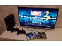 Xbox 360 (250GB Hard Drive) with 2 Controllers and 3 Games