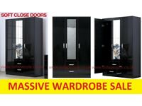 San Diego 3 Door 2 Drawer mirrored wardrobe, black or white, massive price reduction, call now