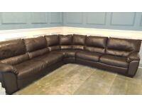 Brown Corner Italian Leather Sofa & 2 Chairs