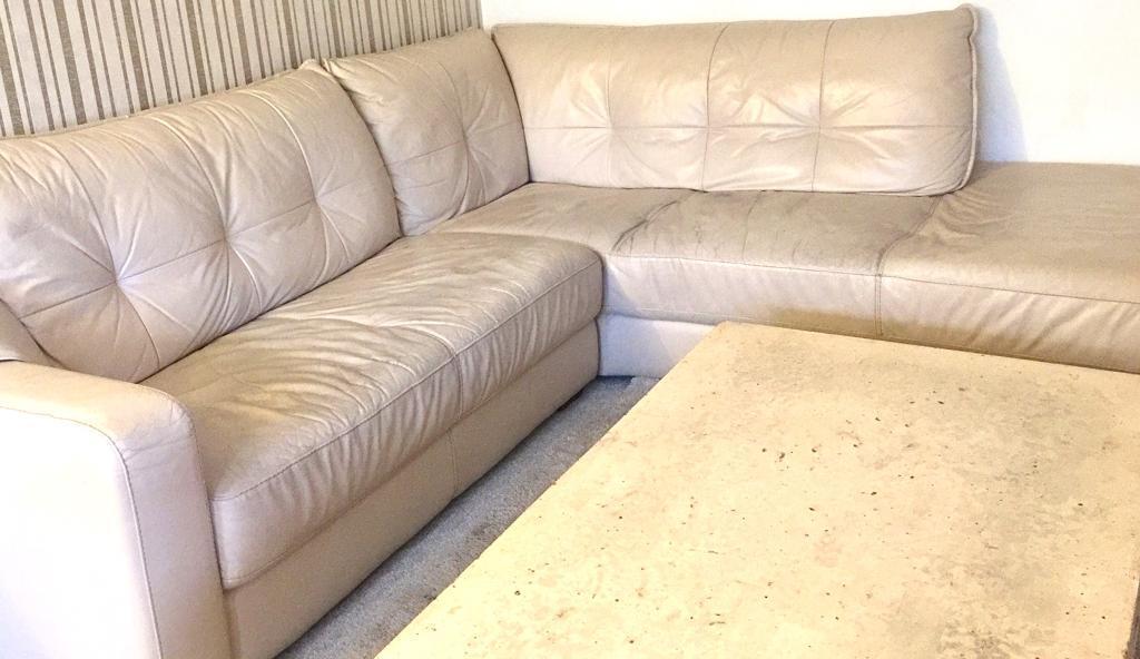 Reduced Cream Leather Corner Sofa In Redditch Worcestershire