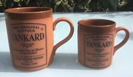 TWO HENRY WATSON POTTERY TANKARDS, ONE PINT AND 1/2 PINT THE ORIGINAL SUFFOLK COLLECTION TERRACOTTA