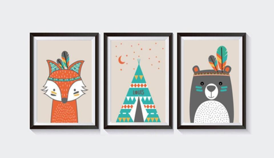 3 Poster Bilder Kinderzimmer INDIANER TIERE