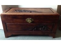 Vintage Hardwood and Camphor Wood Carved Chest or Coffer 36 inches Wide