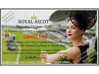 Royal Ascot Ladies Day Tickets with Return Coach