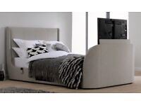 Oatmeal 3D smart TV bed frame with Tempur Cloud deluxe 27k Mattress and two Tempur cloud pillows