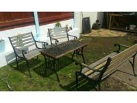 Garden bench table and twin chairs
