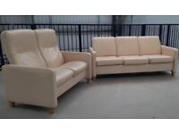 Ekornes Stressless 2 seater Recliner & 3 seater non recliner Cream leather