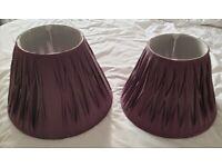 Pair of Purple/Plum Lamp Shades GC