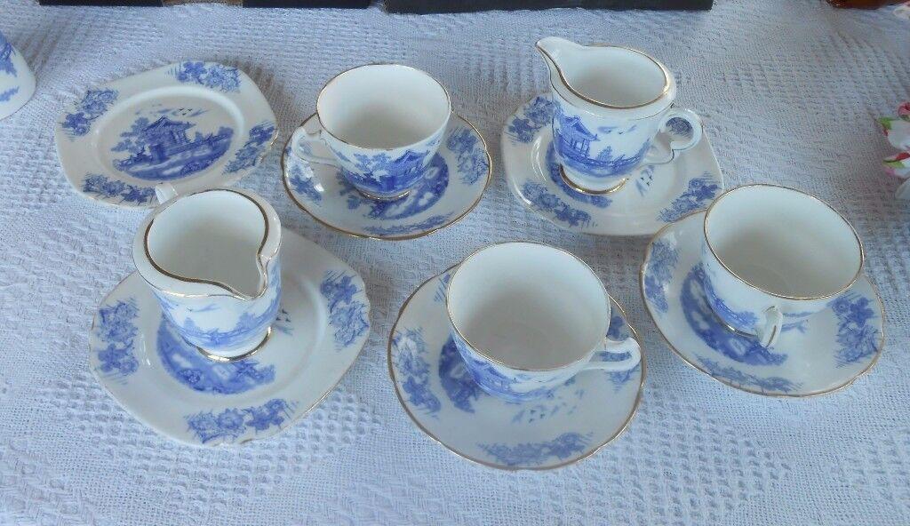 Olde Blue fine bone China cups Saucers