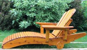 Amish Handcrafted White Cedar Wood Outdoor Chaise Lounging Chairs Lounger- FREE SHIPPING
