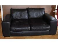 2-seater brown leather sofa (Dark brown)