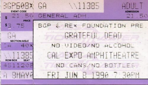 GRATEFUL DEAD TICKET STUB  06-08-1990   CAL EXPO AMPHITHEATRE