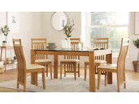 Tate Oak and Glass 150cm Dining Table+oak chairs