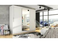 Brand New 2 or 3 Door Monaco Sliding Wardrobe Cupboard with Full Mirror, Drawers, Shelves, Rail