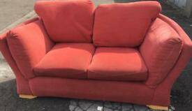 2 x 2 Seater Orange/ coral sofas