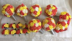 Artificial wedding foam flowers. Bouquet, bridesmaids bouquet pin holes. Yellow, white, pinkish red