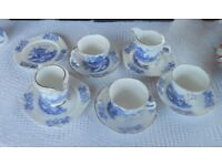 Vintage Collection of Blue and White Bone China Cups and saucers And Jugs