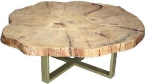 Large local solid wood live edge coffee tables with steel legs