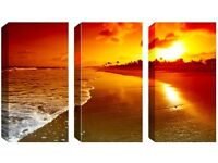 3 Panel Canvas -Magnificent Beach - Reduced from £70.00 to clear BRAND NEW
