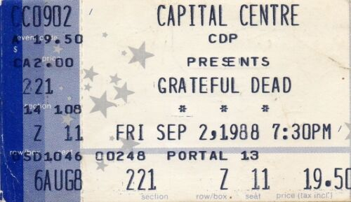 GRATEFUL DEAD TICKET STUB   09-02-1988  CAPITAL CENTRE
