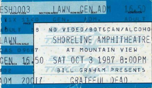 GRATEFUL DEAD TICKET STUB   10-03-1987  SHORELINE AMPHITHEATRE