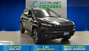 2016 Jeep Cherokee Trailhawk 4X4, Back Up Cam, Pano Roof, $105/W