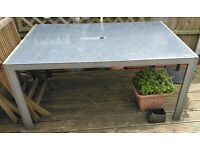 LARGE METAL GARDEN TABLE WITH GLASS TOP