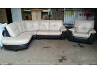 Leather Corner Recliner Suite
