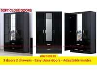 High Gloss wardrobe easy close doors adaptable insides great wardrobes can deliver Thurs call me now