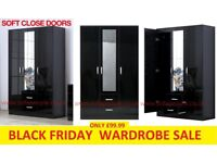 BLACK FRIDAY WARDROBE SALE, black 3 door 2 drawer wardrobes mirror in the middle, also got white