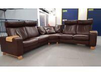 Ekornes Stressless Large Corner recliner Sofa settee Brown Paloma Leather